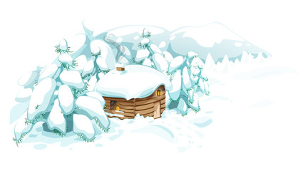 Wooden house among trees in winter