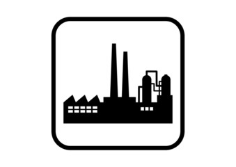Factory vector icon on white background