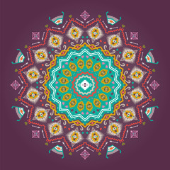 Colorful round  geometric pattern in aztec style