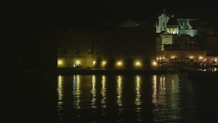 Entrance to the Dubrovnik old town harbor by night