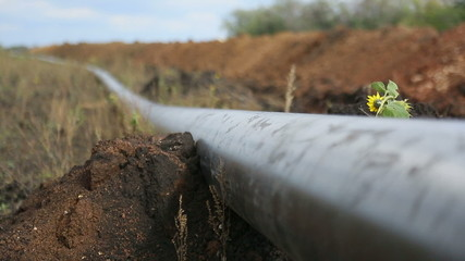 Pipe pipeline lies in the ground, close up