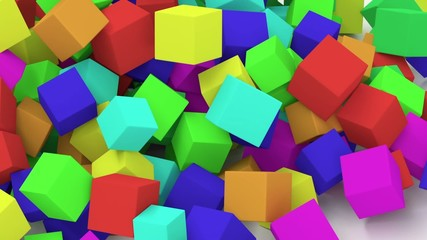Falling colorful cubes.