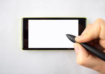 digital pen on the smartphone