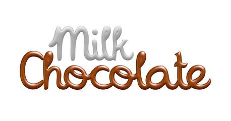 Milk chocolate text logo isolated on white background