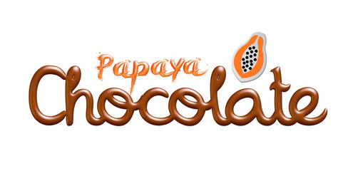 Papaya chocolate logo isolated on white background