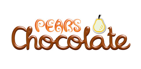 Pears chocolate logo  isolated on white background