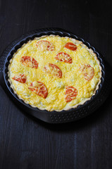 Vegetarian pie with cottage cheese and feta and tomatoes