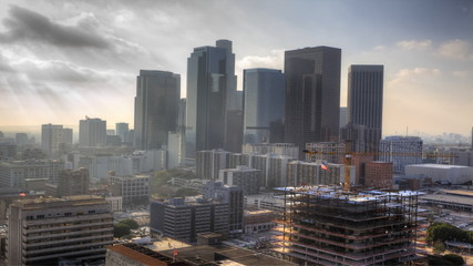 Misty view of Los Angeles city center