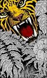 Wild Tiger Roar Doodle Art poster