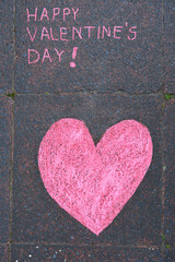 """Drawing in chalk """"Happy Valentine's day"""""""
