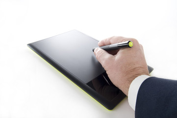 Graphic Tablet with Human Hand and Pen