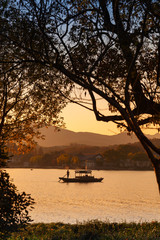 Chinese wooden recreation boat. West Lake, Hangzhou