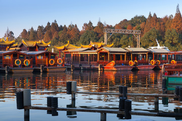 Traditional Chinese wooden recreation boats, West Lake