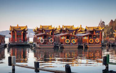 Traditional Chinese wooden recreation boats, Hangzhou