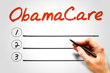 OBAMACARE blank list, business concept