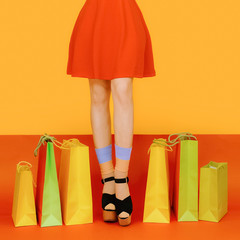 girl legs colorful crazy shopping style