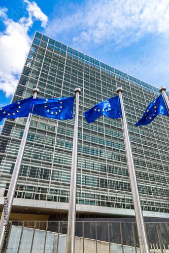 Leinwanddruck Bild European flags  in Brussels