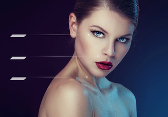 Beauty portrait of woman with healthy skin and space for text
