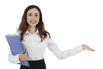 Business woman presenting copy space