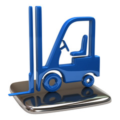Illustration of blue lift truck icon