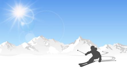 Skifahrer in den Bergen
