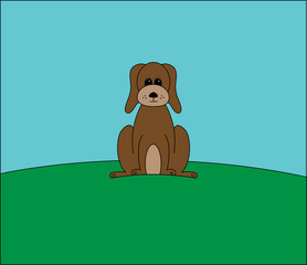 illustration of a brown dog on a hill vector