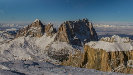 Sasso Lungo and Sasso Platto mountain peaks winter