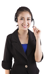 Asian women call center with phone headset with white background