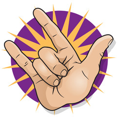 Pop Art Rock and Roll Hand Sign.