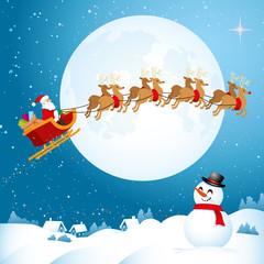 Santa flying across the Night Sky