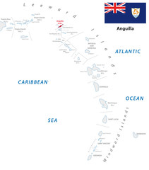 lesser antilles outline map with anguilla