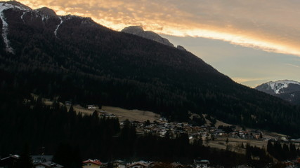 resort town of Moena, sunrise Dolomite Alps
