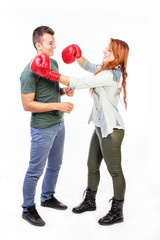 Woman punching boyfriend
