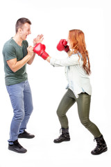 Couple punching