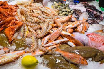 Fine seafood in the Boqueria market in Barcelona