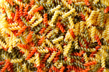 Colorful background texture uncooked pasta