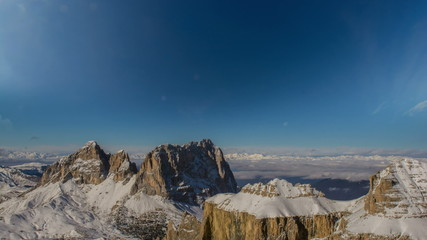 Sella Group and Sasso Lungo mountain peaks, winter time lapse