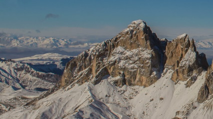 Sasso Lungo Peak and Fassa valley winter  Dolomite Alps