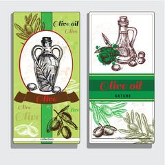 Banner set of vintage olive background