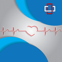 Abstract medical heartbeat sign blue background