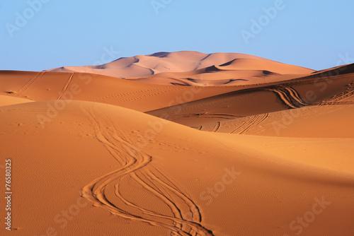 Foto op Plexiglas Zandwoestijn Morocco. Sand dunes of Sahara desert