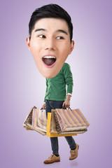 Funny shopping Asian guy