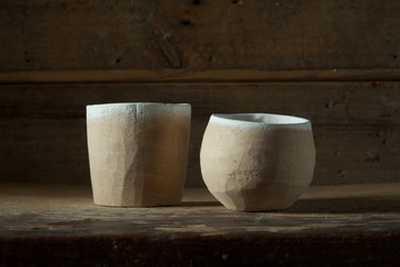 Unglazed clay pots