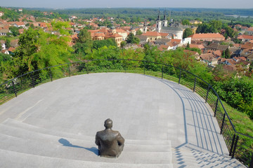 View Sremski Karlovci Town From Panoramic Point With Statue, Ser