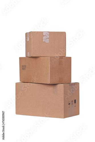 Leinwanddruck Bild Carton boxes isolated over white background