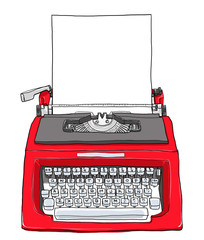 red vintage typewriter with paper cute art painting  illustratio
