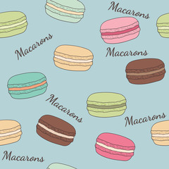 Seamless background with different macaroons