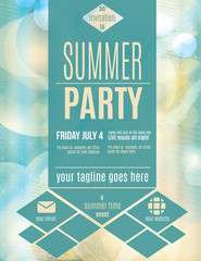 Modern style summer party flyer template