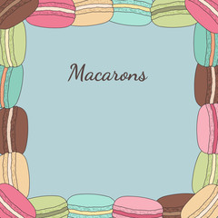 Card with frame of macaroon