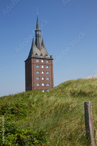 canvas print picture Westturm Wangerooge hinter Düne